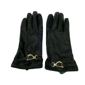 Lauren Ralph Lauren Black Leather Gloves L